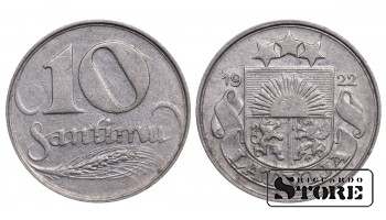 1922 Latvia First Republic (1922 - 1940) Coin Coinage Standard 10 Santimu KM#4 #LV467