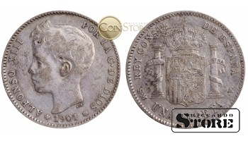 Испания , 1 песета 1901 год , Серебро 5 г (Король Альфонсо XIII (1886 - 1931)