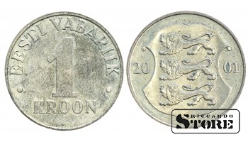 1 КРОНА 2001 ГОД , ЭСТОНИЯ
