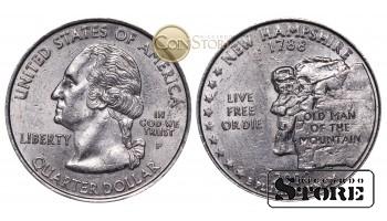 Монеты США , 1/4 доллара - 2000 год P (Квотер штата Нью-Гэмпшир)
