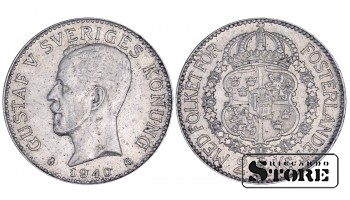 1940 Sweden King Gustav V (1908 - 1950) Coin Coinage Standard 2 kronor KM# 787 #6