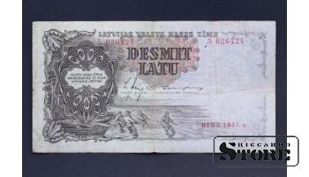 БАНКНОТА , ЛАТВИЯ , 10 ЛАТ 1937 год - A 026424