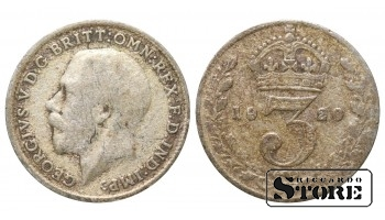 1920 Great Britain UK Coin Silver Ag Coinage Rare 3 Pence KM#813a #UK695