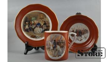Чайный комплект, фарфор, Рига, фабрика М.С. Кузнецова, 1938 г , Авторская работа