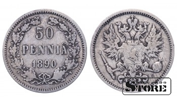 1890 Finland Emperor Nicholas II (1895 - 1917) Coin Coinage Standard 50 pennia KM#2 #F405