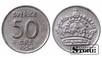 1954 Sweden King Gustav V (1908 - 1950) Coin Coinage Standard 50 Ore KM#825 #SW159