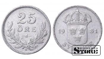 1931 Sweden King Gustav V (1908 - 1950) Coin Coinage Standard 25 ore KM# 785 #45