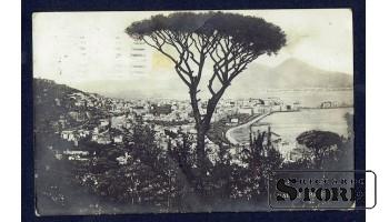 Старинная Итальянская открытка 1927 г. Неаполь, Панарама
