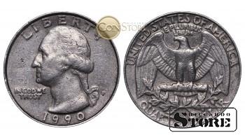 Монеты США , 1/4 доллара - 1990 год P