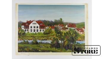Картина, Средняя школа в городе Сабиле , картон - масло , 43X31 СМ , Арманд Берзиньш , 1962 год