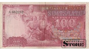 БАНКНОТА, ЛАТВИЯ, 100 ЛАТ 1939 ГОД - A 083252