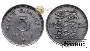 Эстония , 5 марок 1922 год , Медно-никелевый сплав