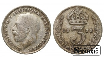 1922 Great Britain UK Coin Silver Ag Coinage Rare 3 Pence KM#813a #UK694