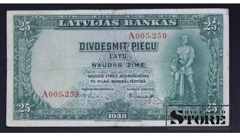 БАНКНОТА , ЛАТВИЯ , 25 ЛАТ 1938 ГОД - A005259
