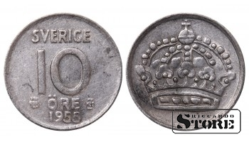 1955 Sweden King Gustaf VI Adolf (1950 - 1973) Coin Coinage Standard 10 Ore KM#823 #SW215