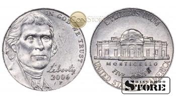 Монеты США , 5 центов - 2006 год P