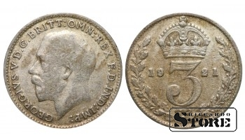 1921 Great Britain UK Coin Silver Ag Coinage Rare 3 Pence KM#813a #UK707