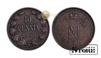 ФИНЛЯНДИЯ , 10 ПЕННИ 1908 ГОД