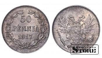 1917 Finland Emperor Nicholas II (1895 - 1917) Coin Coinage Standard 50 pennia KM#2 #F402