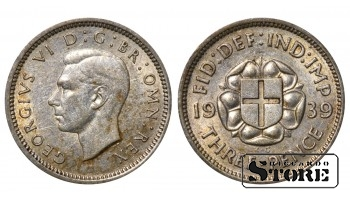 1939 Great Britain UK Coin Silver Ag Coinage Rare 3 Pence KM#848 #UK698