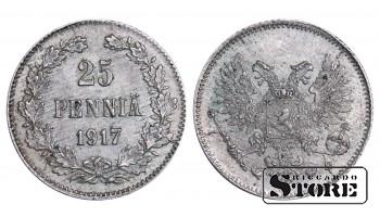 1917 Finland Emperor Nicholas II (1895 - 1917) Coin Coinage Standard 25 pennia KM#6 #F379