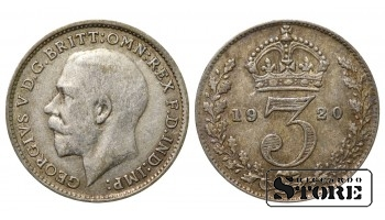 1920 Great Britain UK Coin Silver Ag Coinage Rare 3 Pence KM#813a #UK632