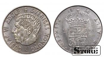 1966 Sweden King Gustaf VI Adolf (1950 - 1973) Coin Coinage Standard 1 Krona KM#827 #SW103