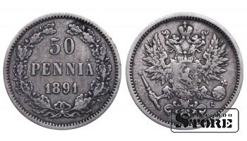 1891 Finland Emperor Nicholas II (1895 - 1917) Coin Coinage Standard 50 pennia KM#2 #F410