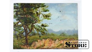 Картина, Летний пейзаж , картон - масло , 43X31 СМ , Арманд Берзиньш