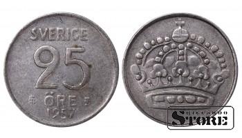 1957 Sweden King Gustaf VI Adolf (1950 - 1973) Coin Coinage Standard 25 Ore KM#824 #SW166