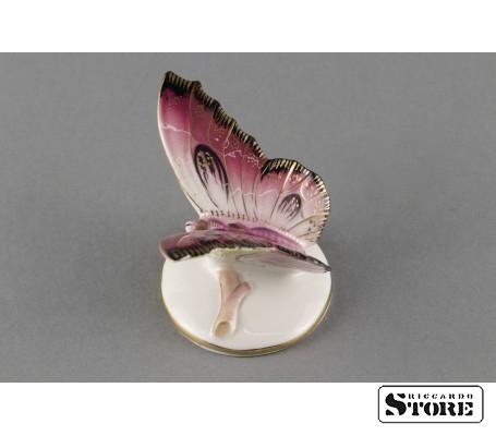 Фарфоровая статуэтка Бабочка, Малиновая. Вид 2