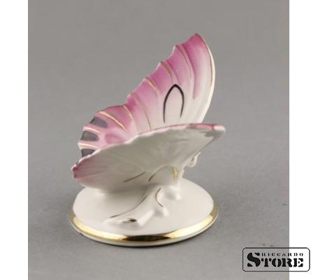 Фарфоровая статуэтка Бабочка, розовая (вишнёвая) Вид 2
