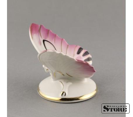 Фарфоровая статуэтка Бабочка, розовая (вишнёвая) Вид 3