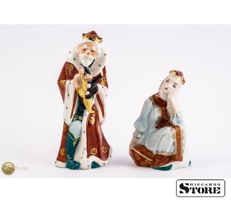 Фарфоровые статуэтки Царь Горох и Царевна Несмеяна вид 2