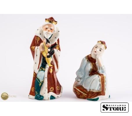 Фарфоровые статуэтки Царь Горох и Царевна Несмеяна вид 1