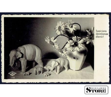 Старинная поздравительная открытка времён Ульманиса