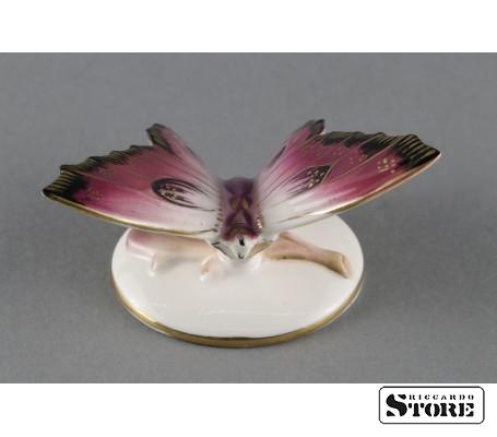 Фарфоровая статуэтка Бабочка, Малиновая. Вид 3
